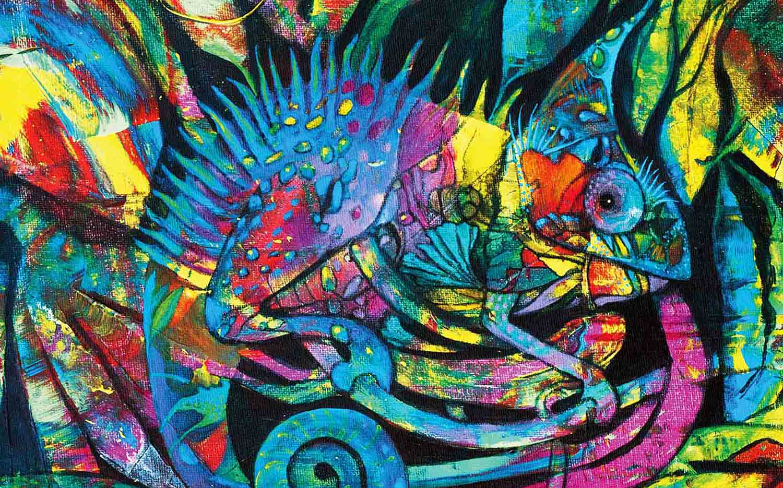 Salma mit Sahne EP Cover innen Chamäleon von Rajaa Heike Buick-Hajji Kunst Lindenfels